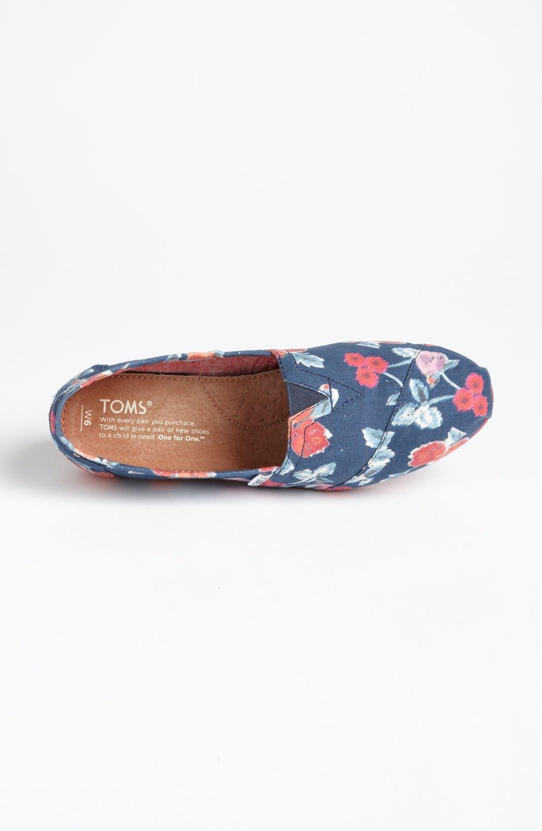 Alternate Image 3  - TOMS 'Classic - Navy Floral' Slip-On (Women)
