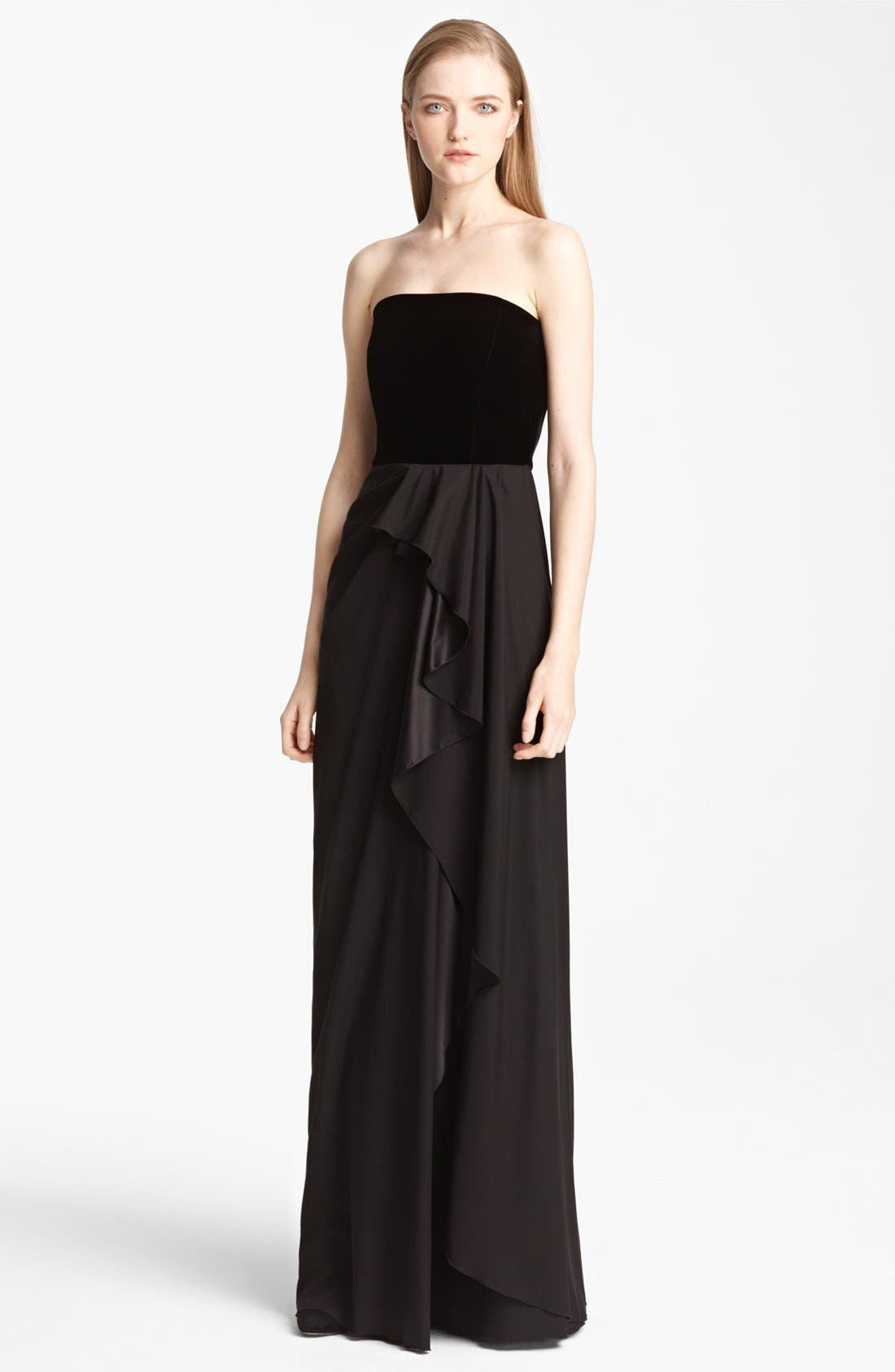 Main Image - Armani Collezioni Strapless Velvet & Chiffon Dress