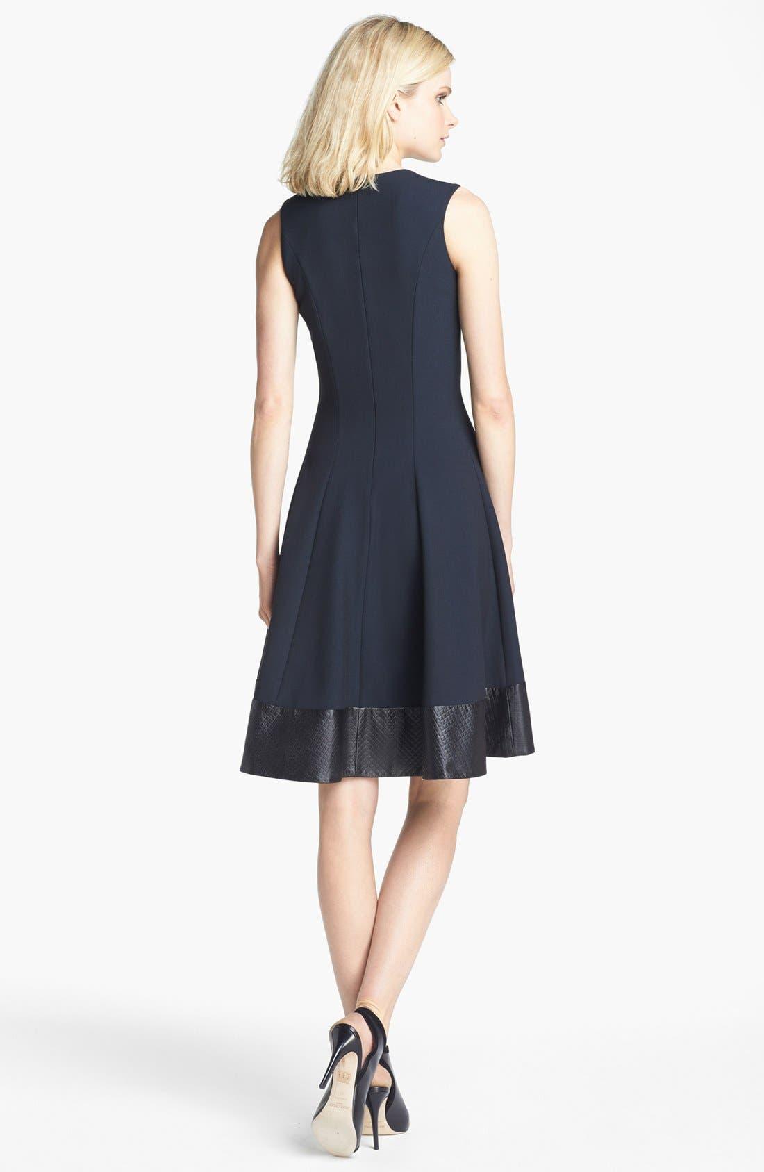 Alternate Image 2  - L'AGENCE Embossed Leather Trim Ponte Knit Dress