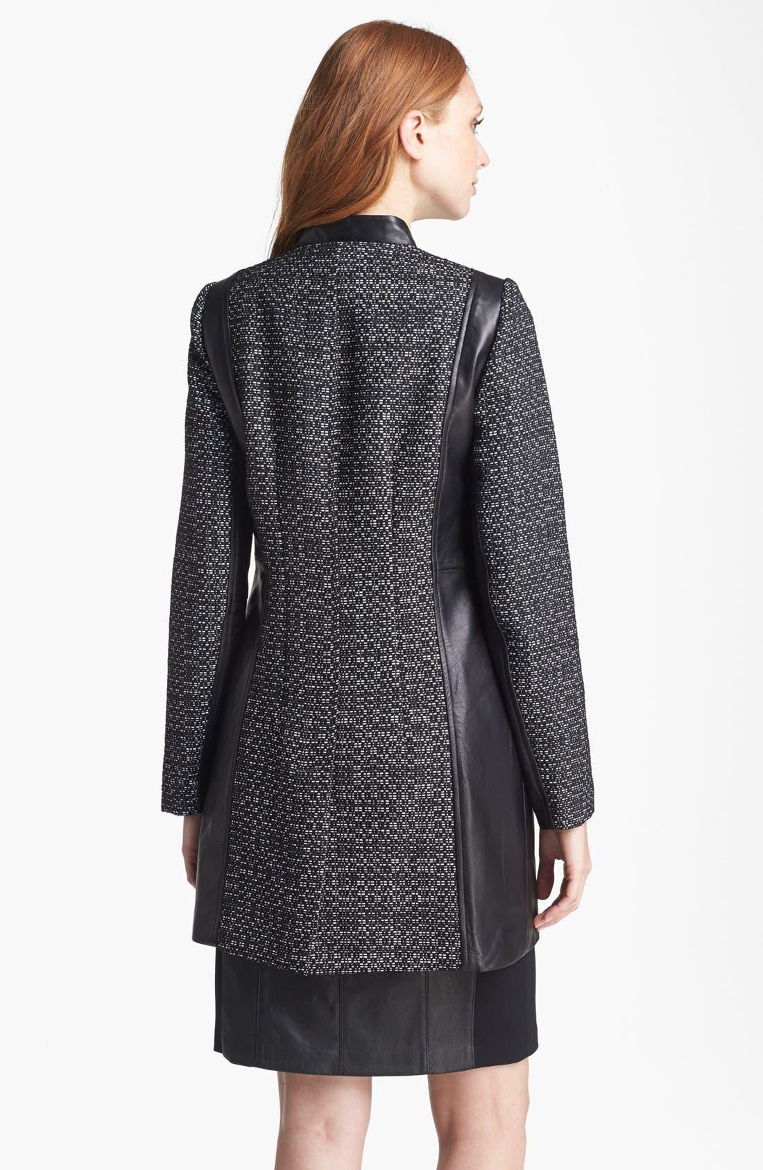 Alternate Image 2  - Nanette Lepore 'Big Top' Tweed & Leather Coat