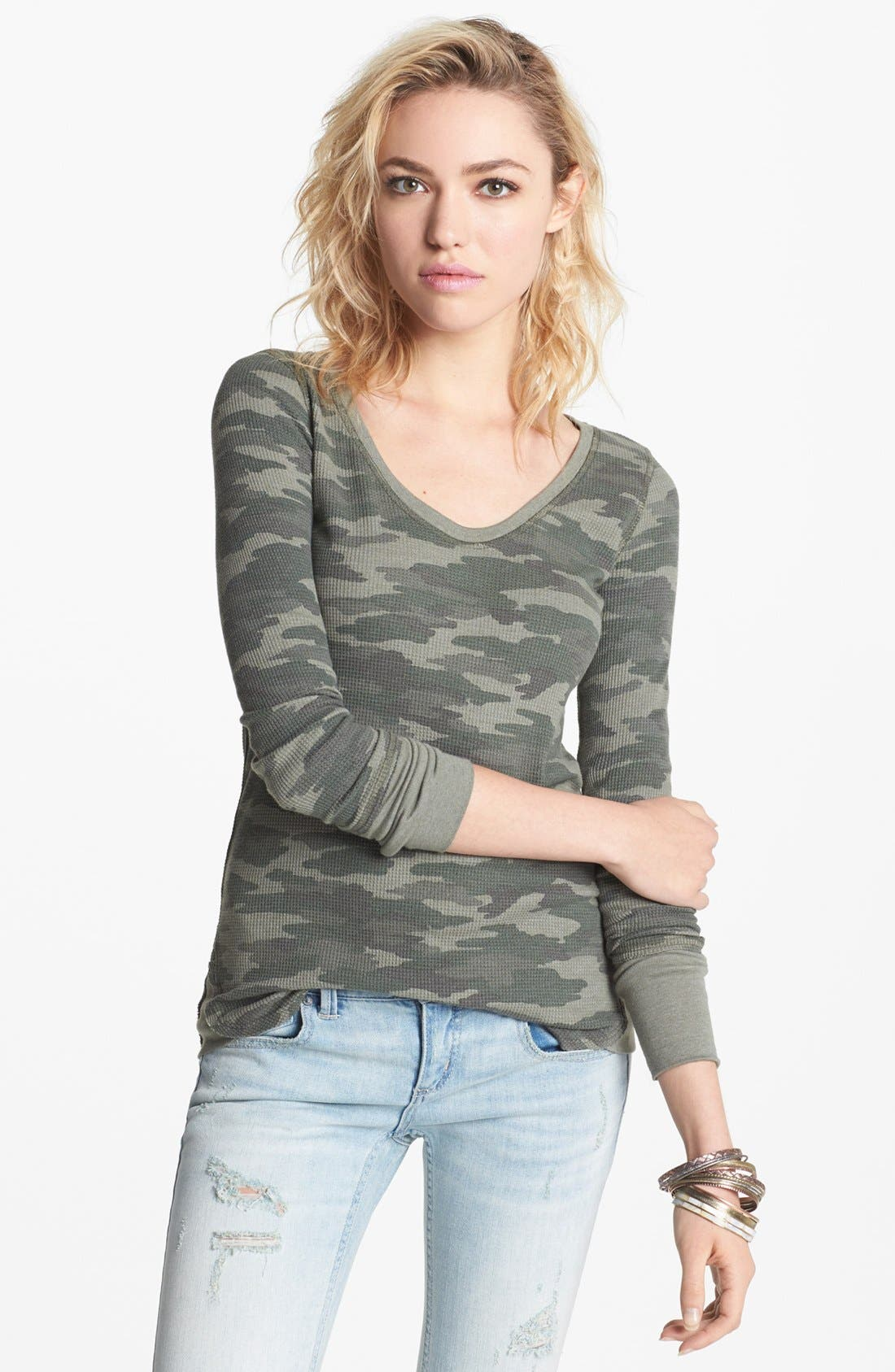 Alternate Image 1 Selected - Free People Camo Print Thermal Tee