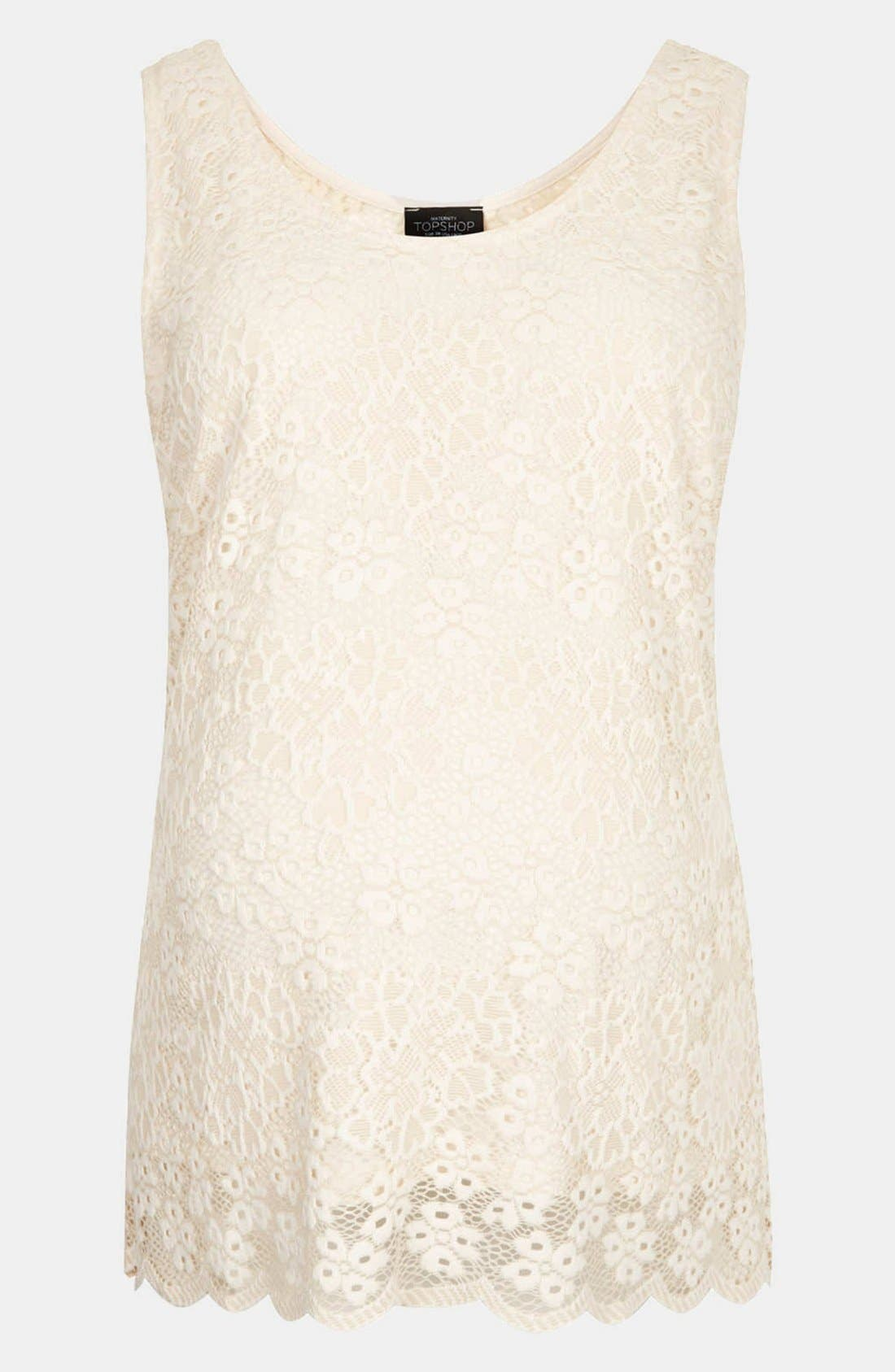 Alternate Image 2  - Topshop Lace Maternity Tank