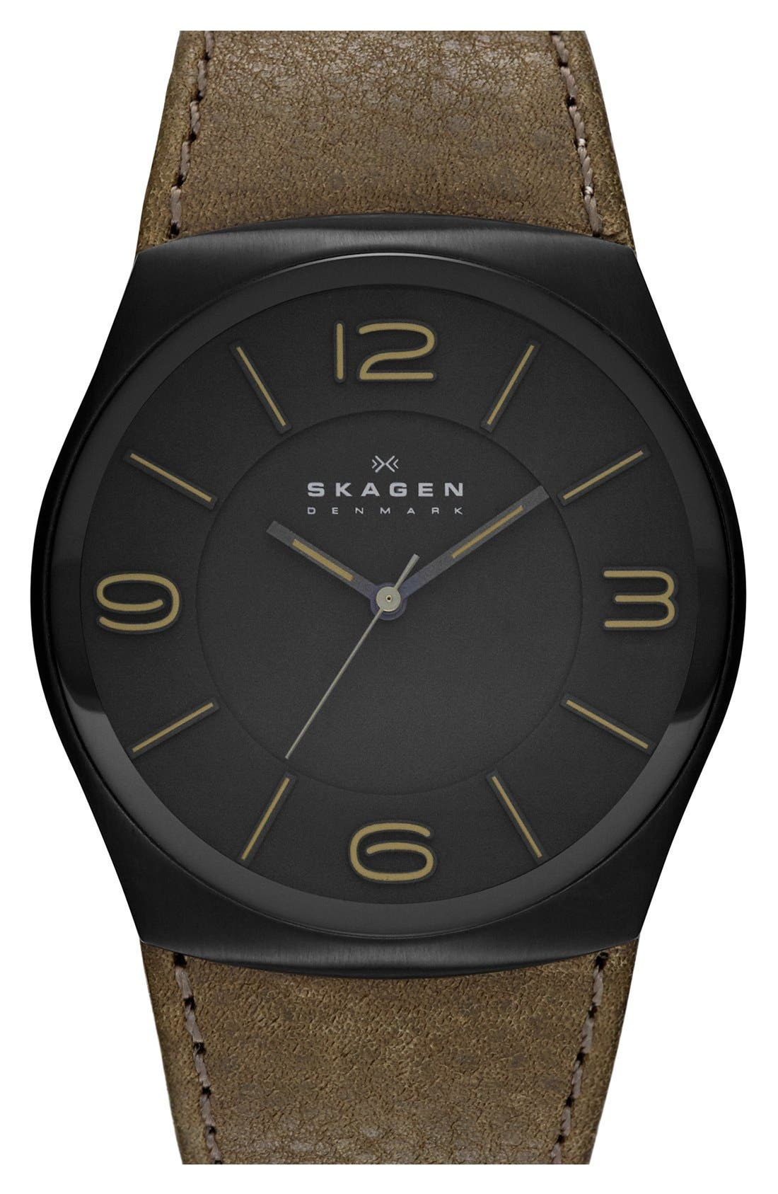 Alternate Image 1 Selected - Skagen 'Havene' Round Leather Strap Watch, 42mm.
