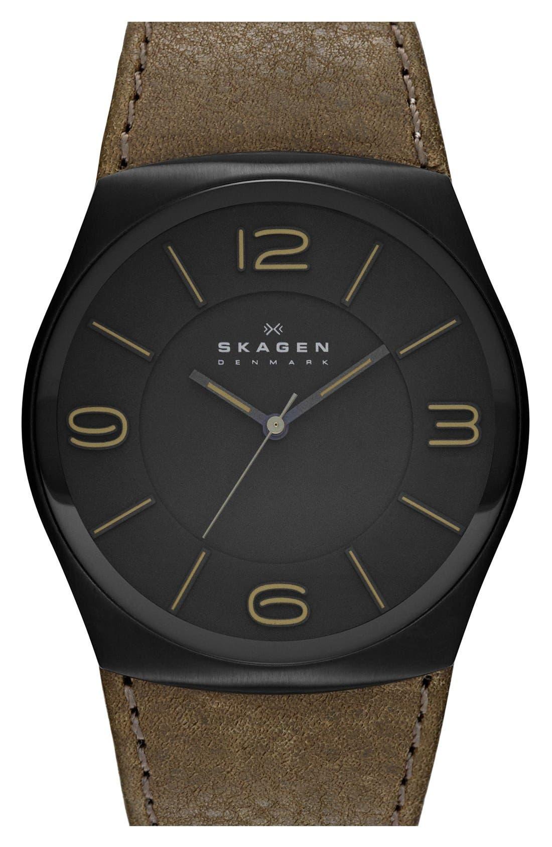 Main Image - Skagen 'Havene' Round Leather Strap Watch, 42mm.