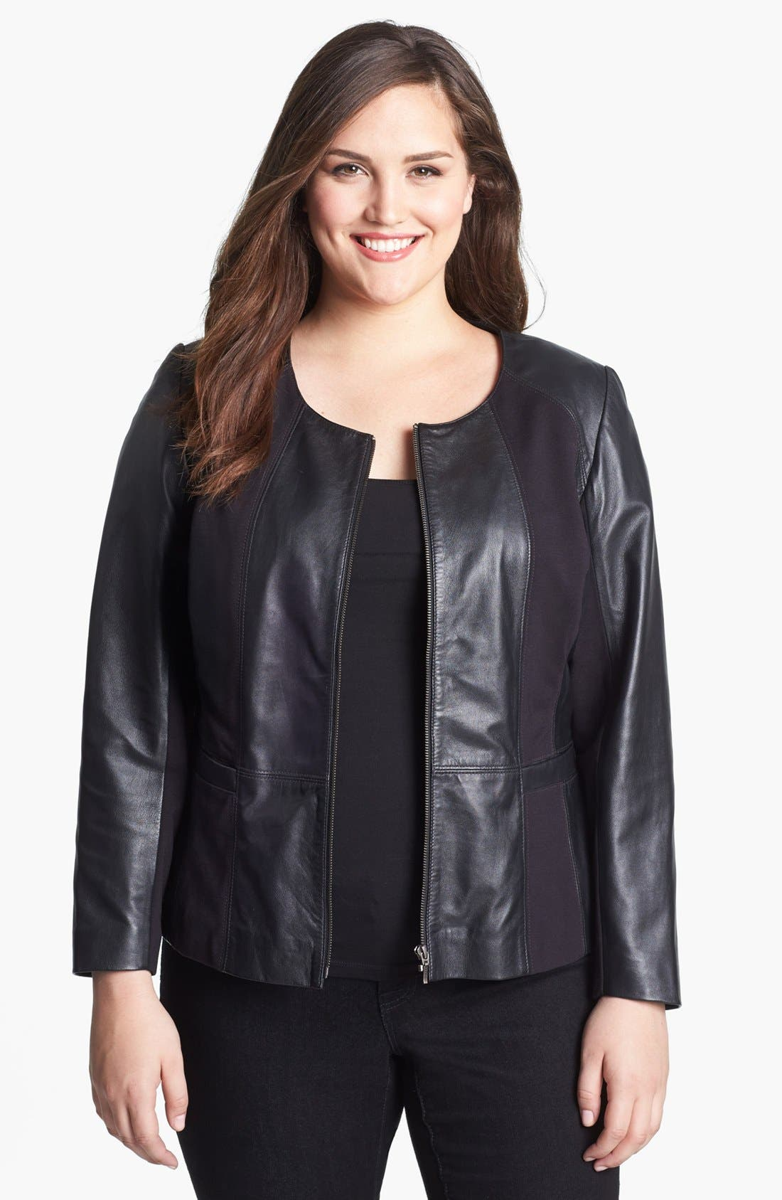 Main Image - Sejour Lambskin Leather Jacket (Plus Size)