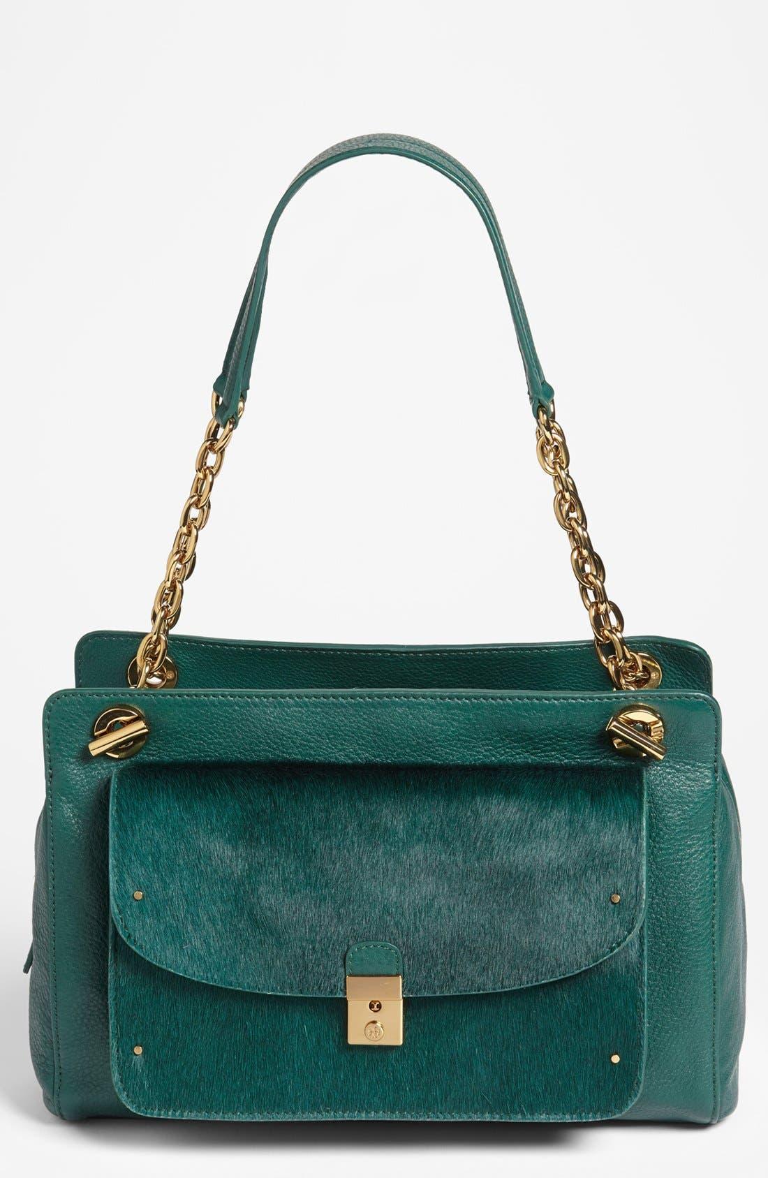 Alternate Image 1 Selected - Tory Burch 'Priscilla' Leather & Calf Hair Shoulder Bag