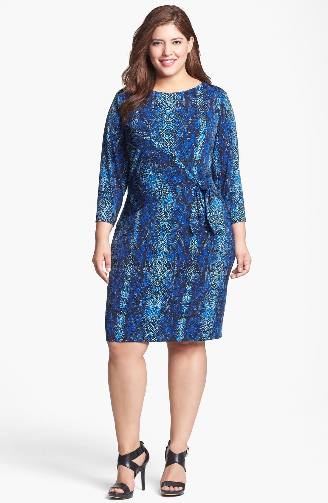 Alternate Image 1 Selected - Calvin Klein Print Side Tie Sheath Dress (Plus Size)