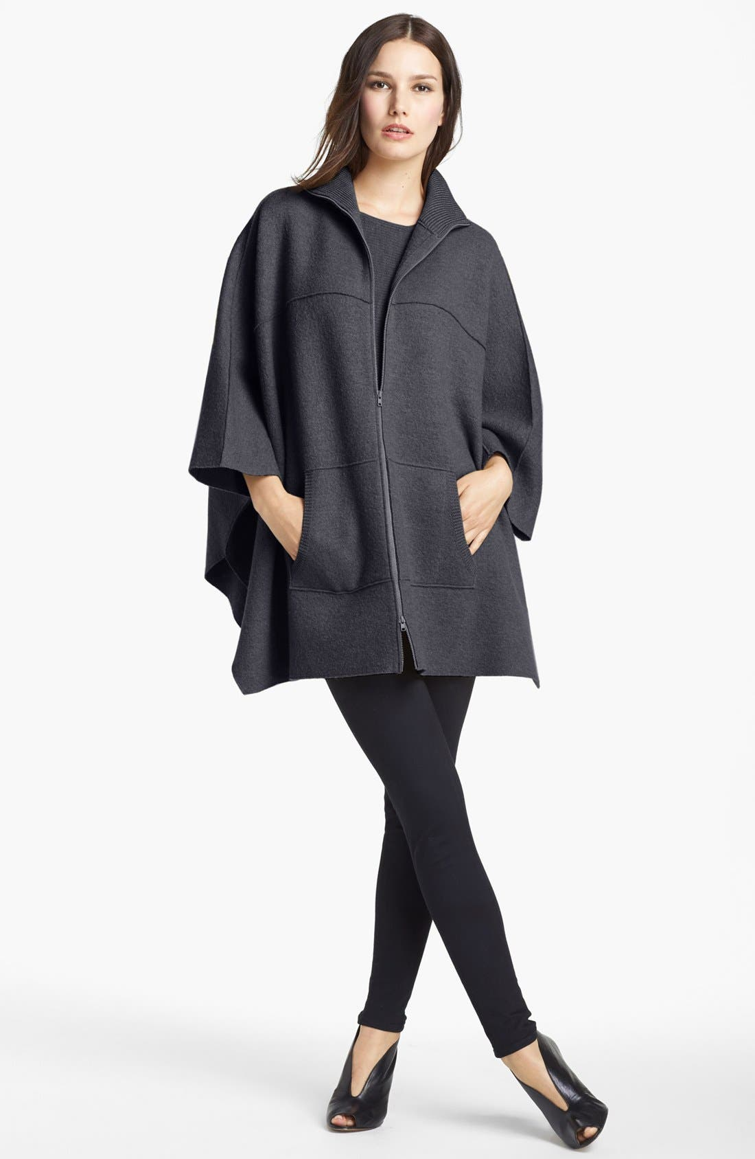 Alternate Image 2  - Eileen Fisher Boiled Wool Poncho Cardigan