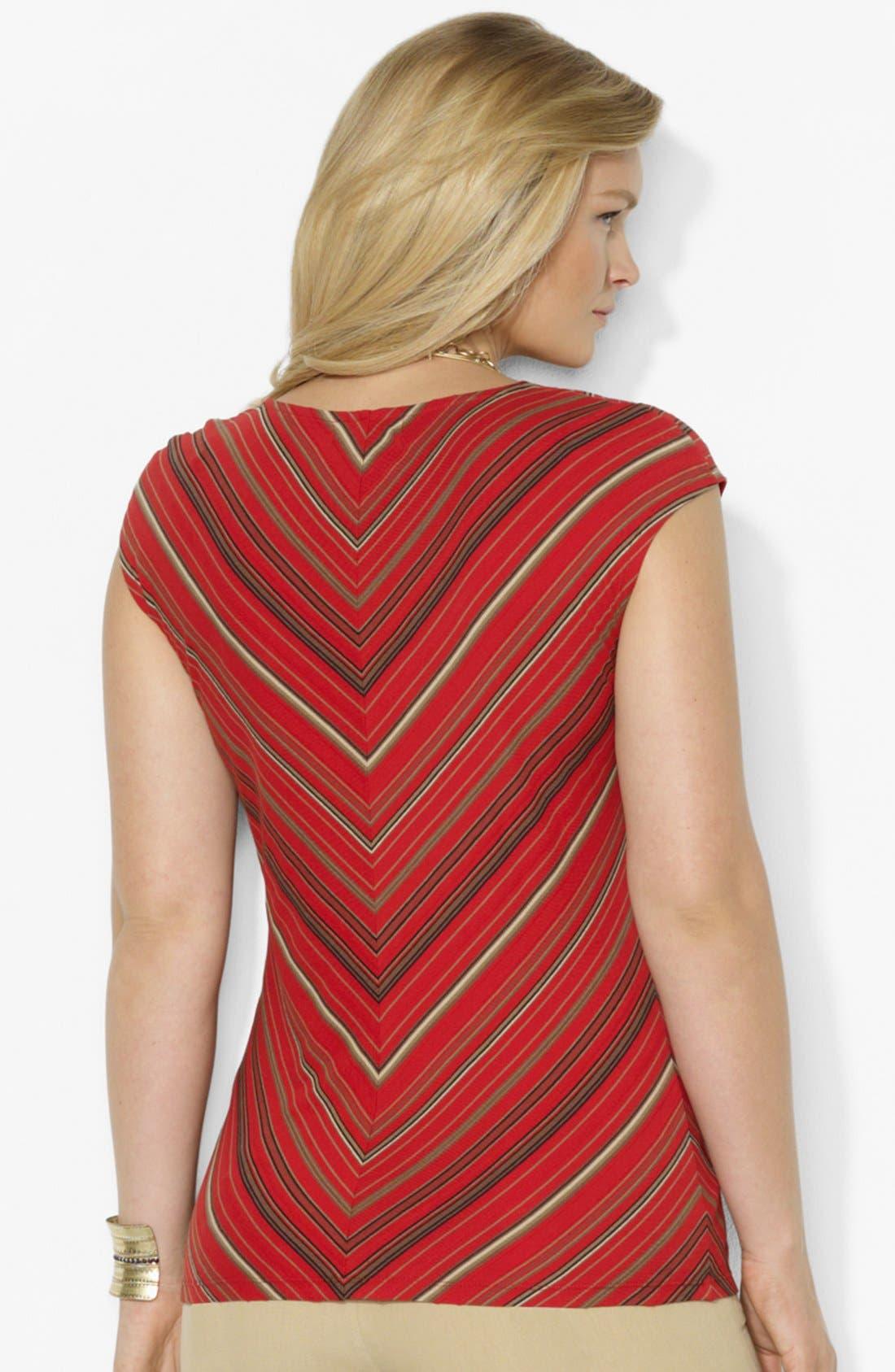 Alternate Image 2  - Lauren Ralph Lauren Stripe V-neck Tee (Plus Size)