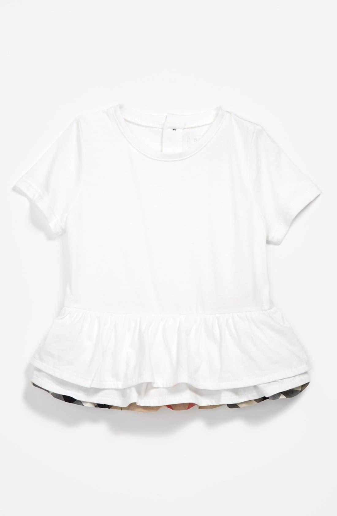 Main Image - Burberry 'Mini Tyna' Tiered Ruffle Hem Top (Baby Girls)
