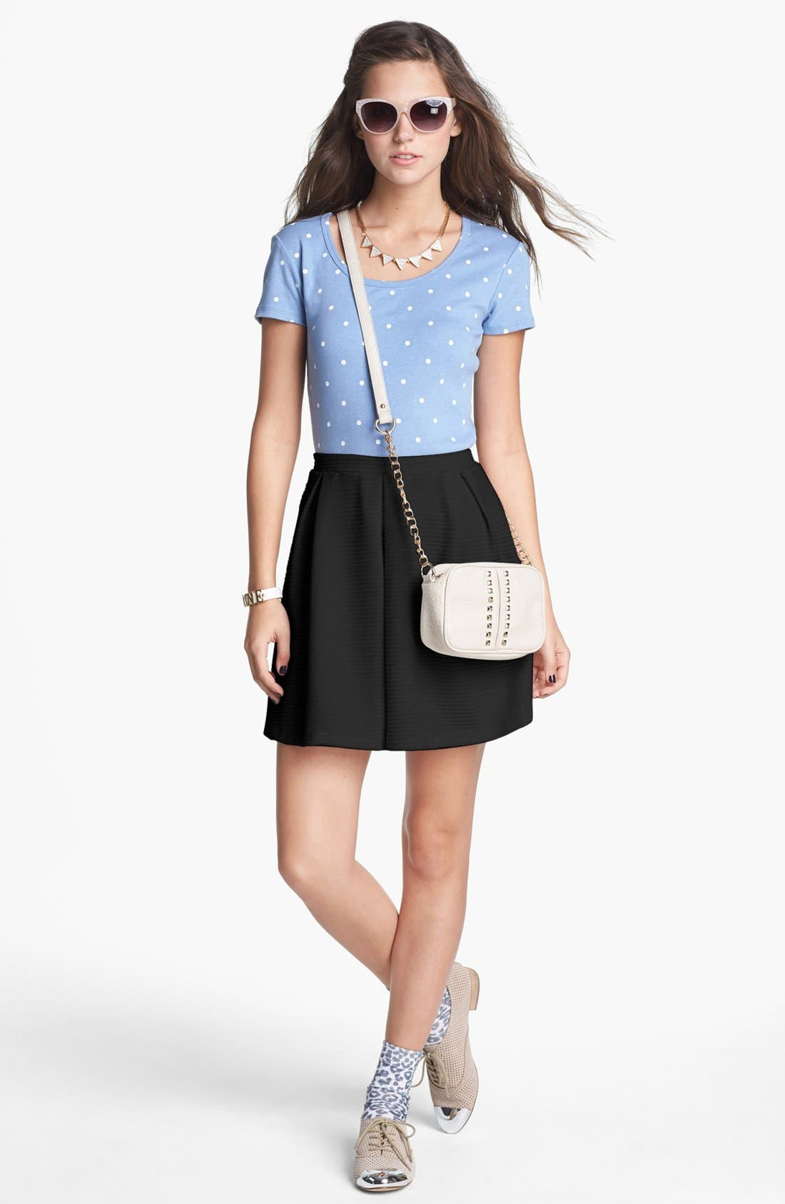Alternate Image 2  - h.i.p. Box Pleat Textured Skirt (Juniors)