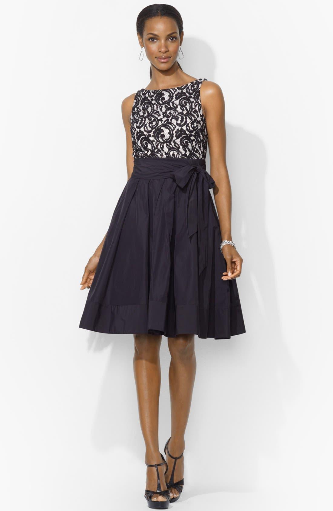 Main Image - Lauren Ralph Lauren Lace Bodice Fit & Flare Dress