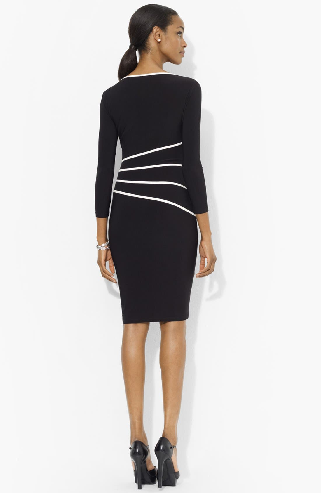 Alternate Image 2  - Lauren Ralph Lauren Contrast Trim Jersey Sheath