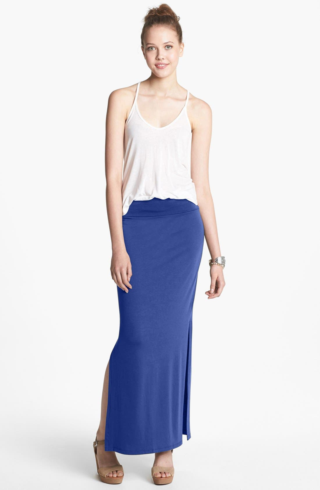 Main Image - Lily White Maxi Skirt (Juniors)