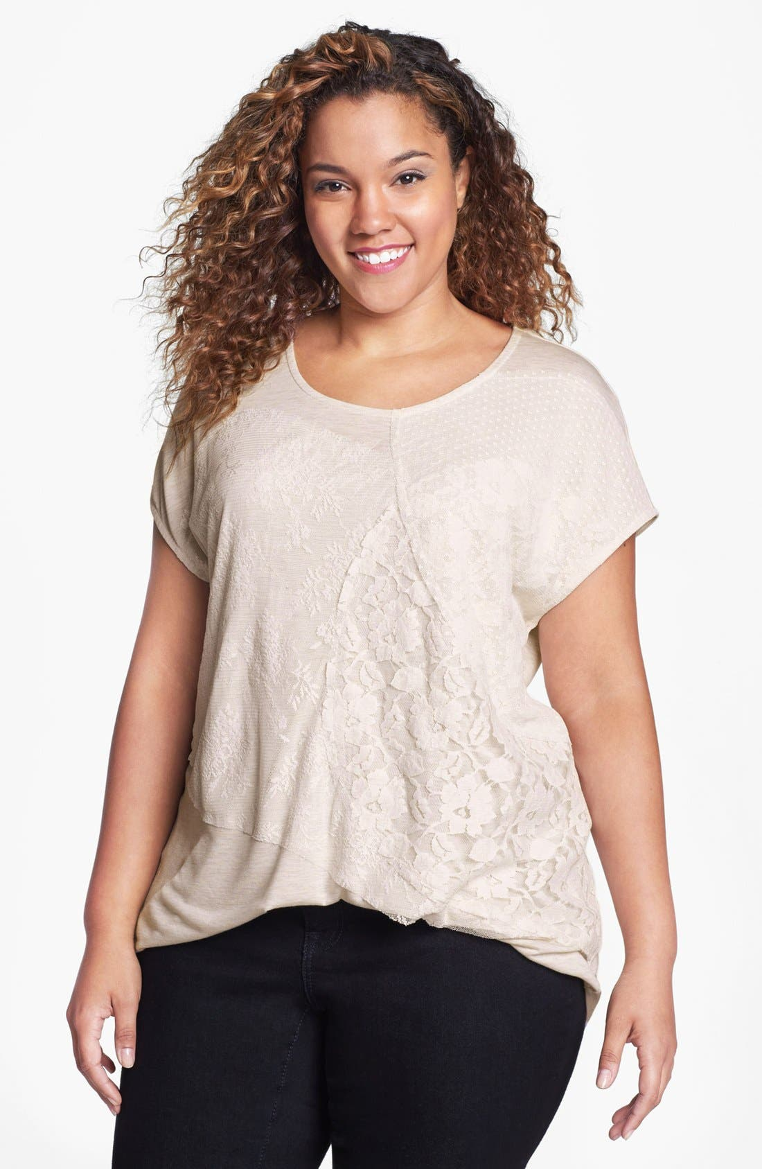 Alternate Image 1 Selected - Kische Embellished Lace Overlay Top (Plus Size)