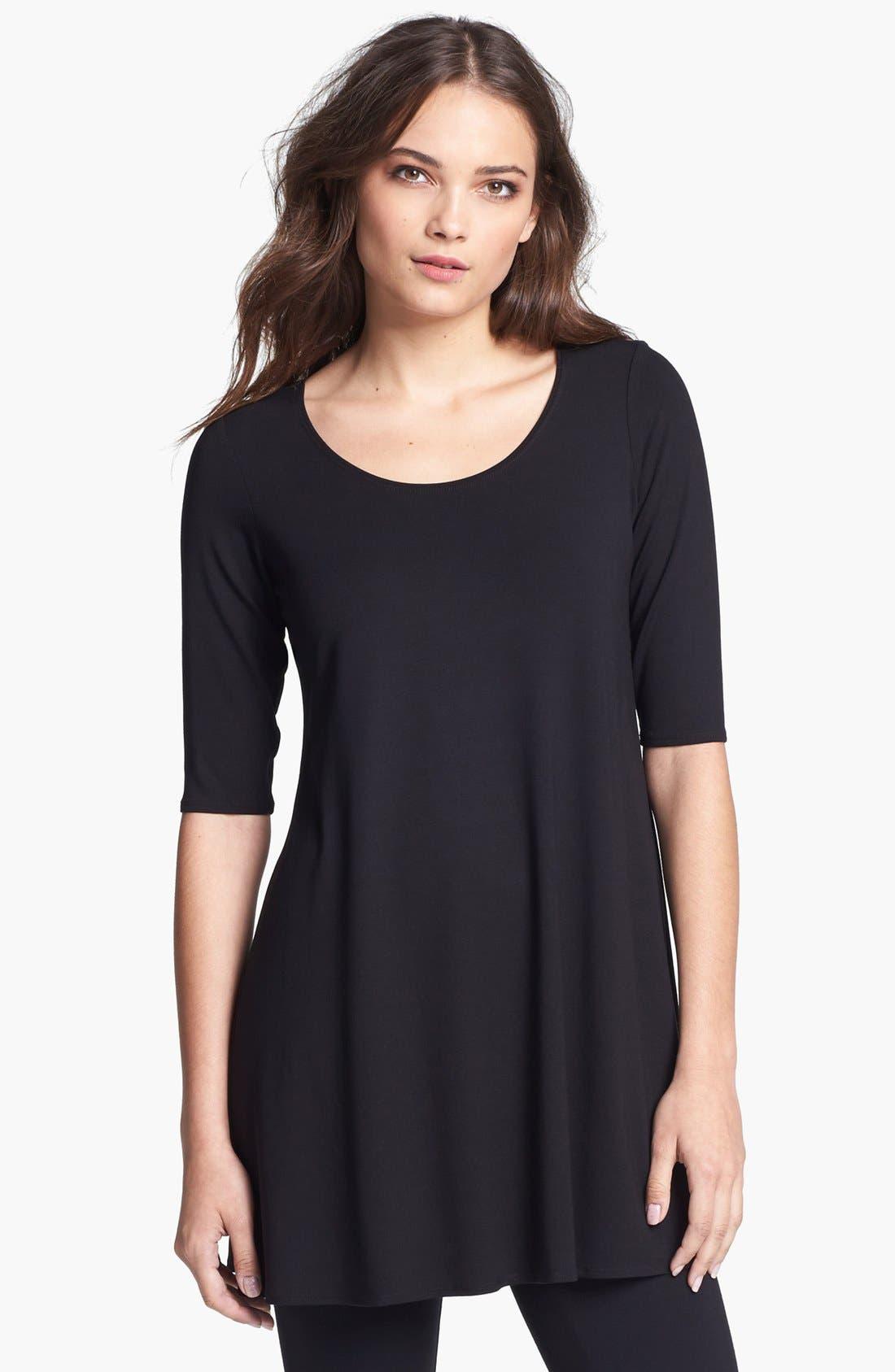 Alternate Image 1 Selected - Eileen Fisher Scoop Neck Jersey Tunic (Regular & Petite)
