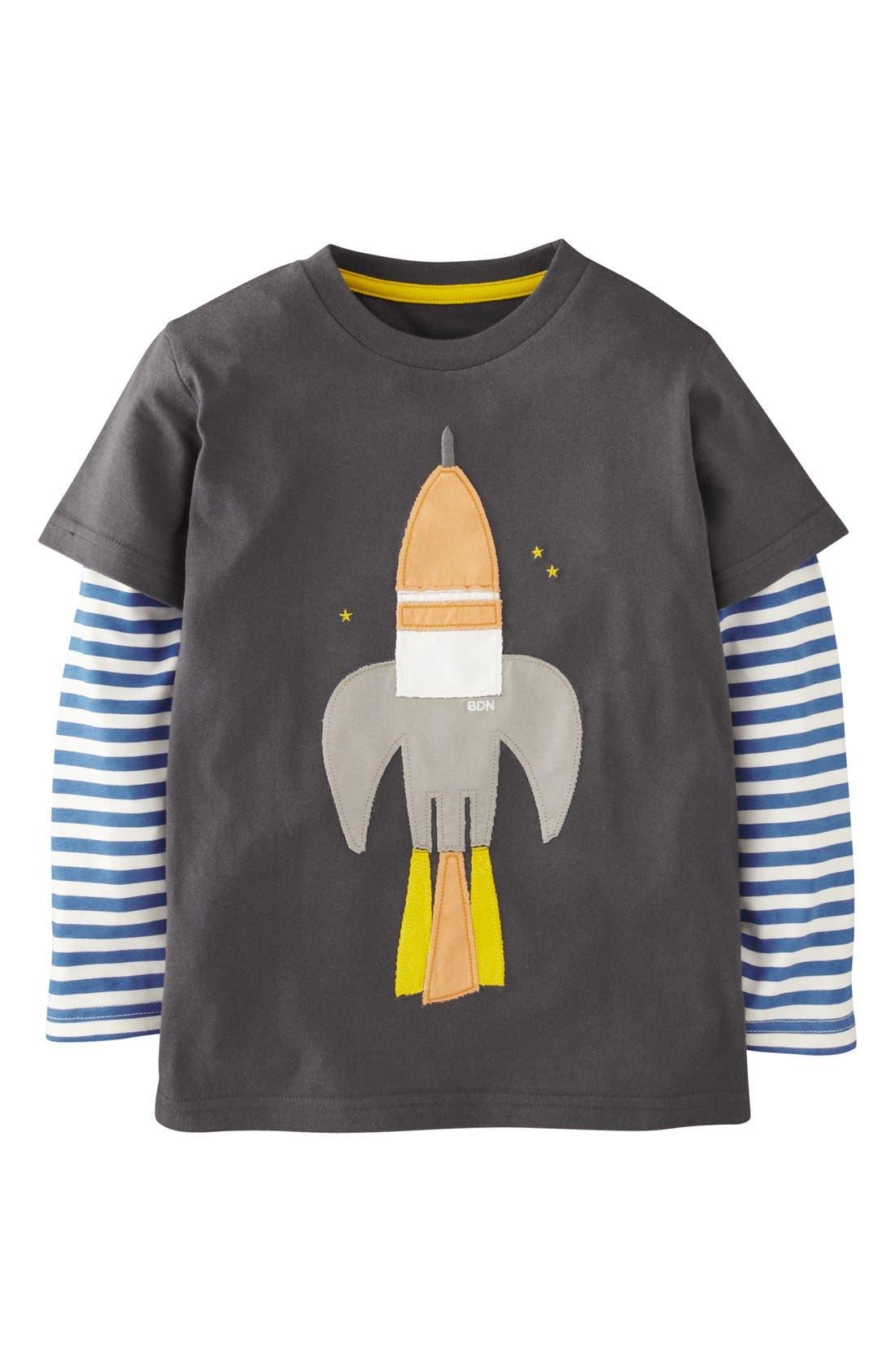 Main Image - Mini Boden 'Big Vehicle' Appliqué Layered Sleeve T-Shirt (Toddler Boys, Little Boys & Big Boys)