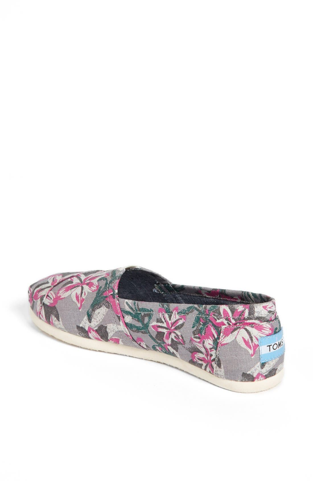 Alternate Image 2  - TOMS 'Classic - Grey Floral' Vegan Slip-On (Women)