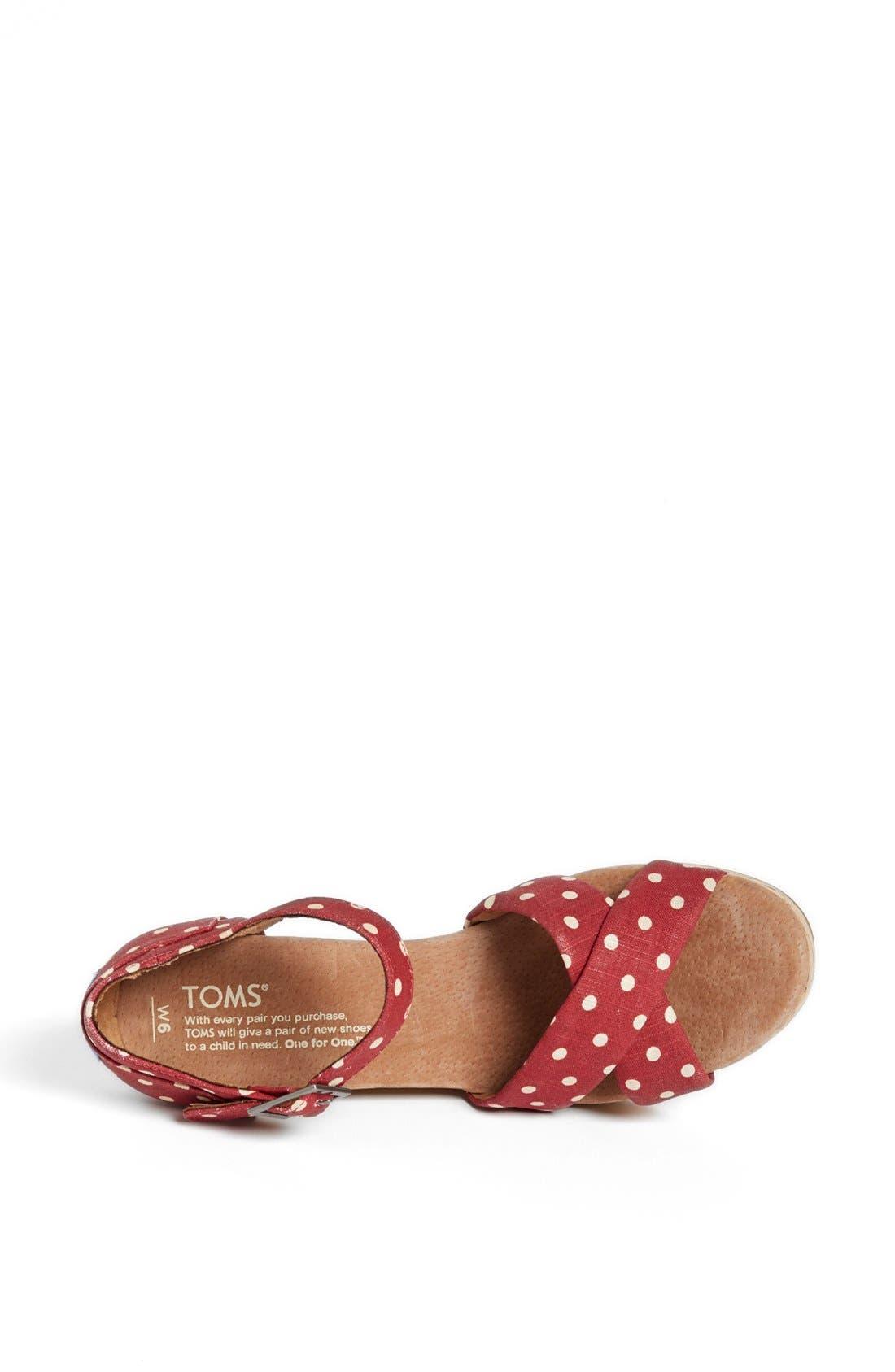 Alternate Image 3  - TOMS Polka Dot Linen Woven Wedge Sandal