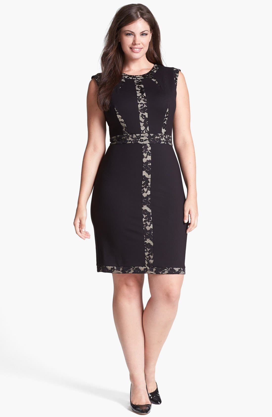 Main Image - ABS by Allen Schwartz Lace Block Sheath Dress (Plus Size)
