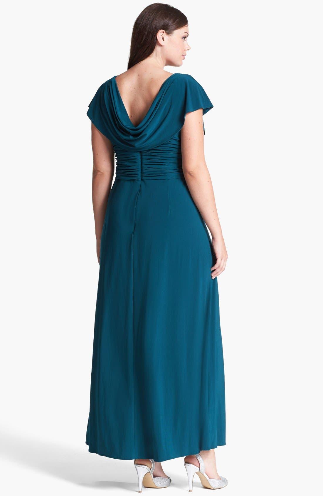 Alternate Image 2  - Patra Draped Neckline Embellished Jersey Gown (Plus Size)