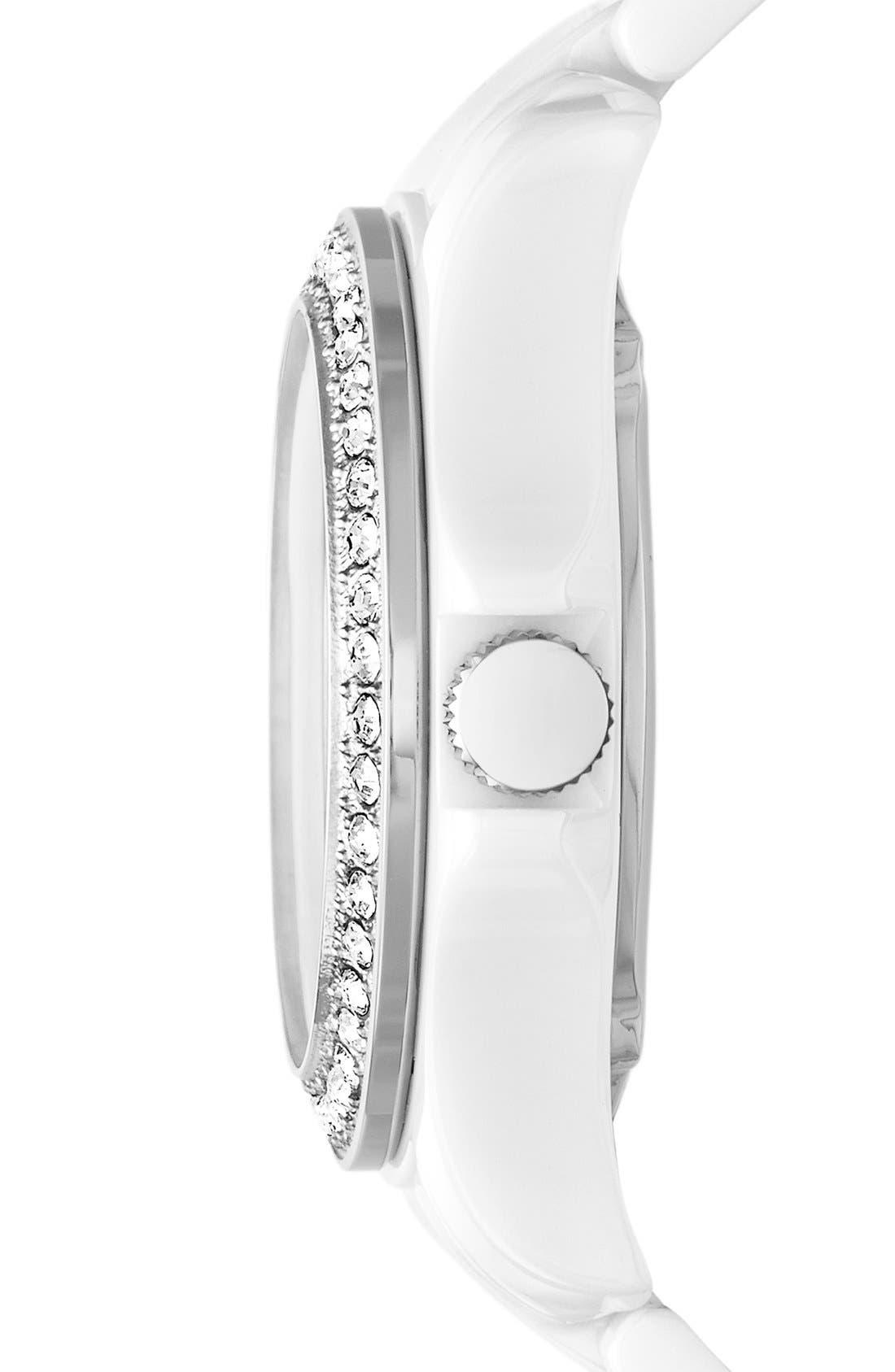Alternate Image 3  - Fossil 'Riley' Crystal Bezel Ceramic Bracelet Watch, 40mm
