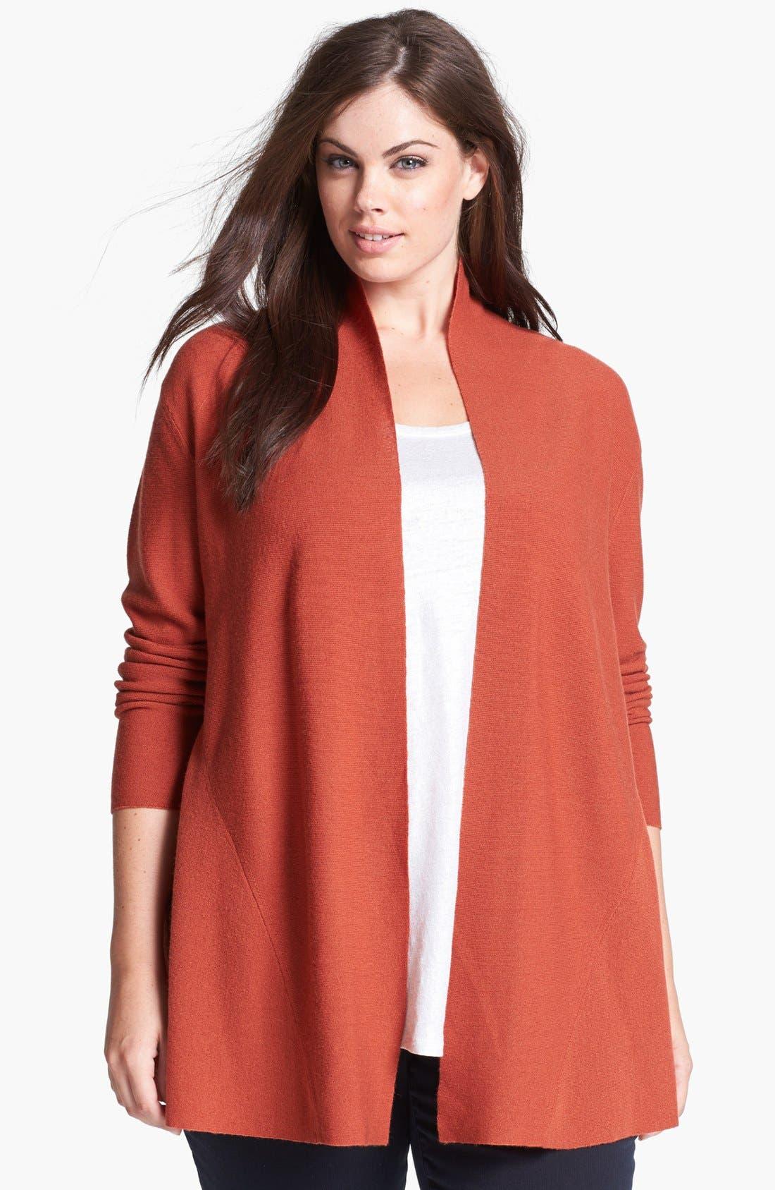 Alternate Image 1 Selected - Eileen Fisher Shaped Merino Wool Cardigan (Plus Size)