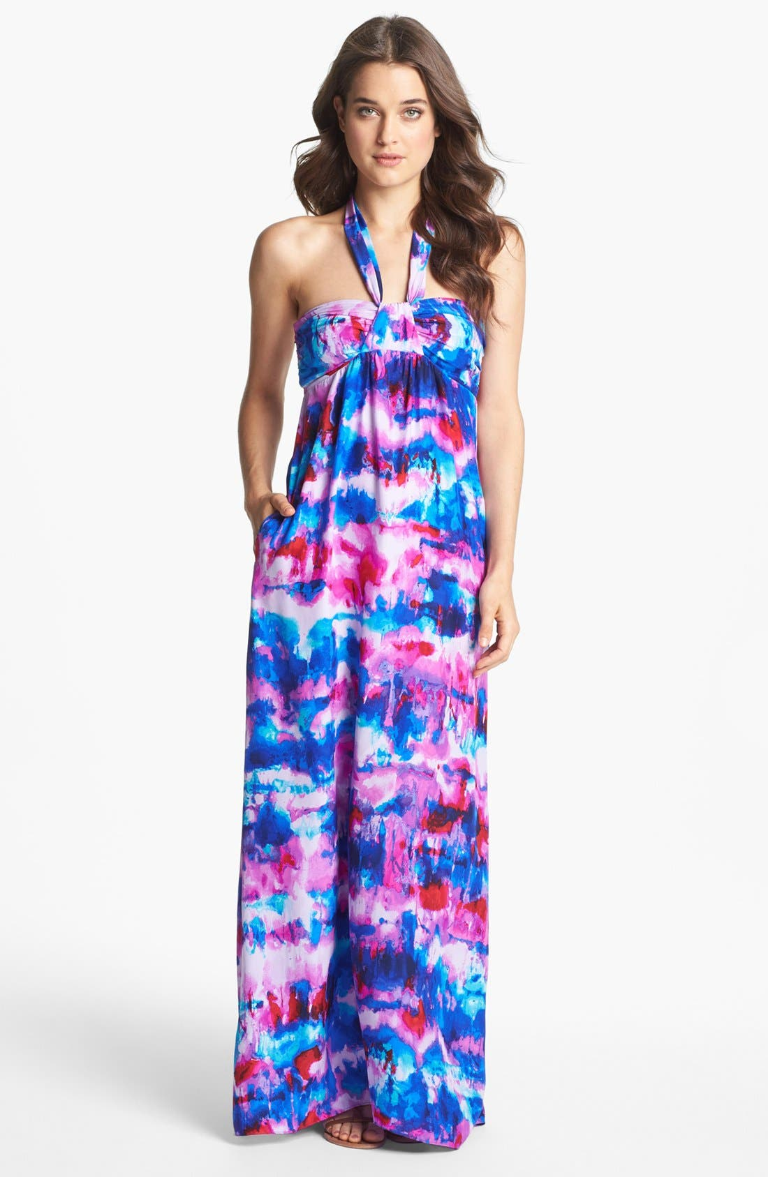 Main Image - ALICE & TRIXIE 'Keira' Tie Detail Print Maxi Dress