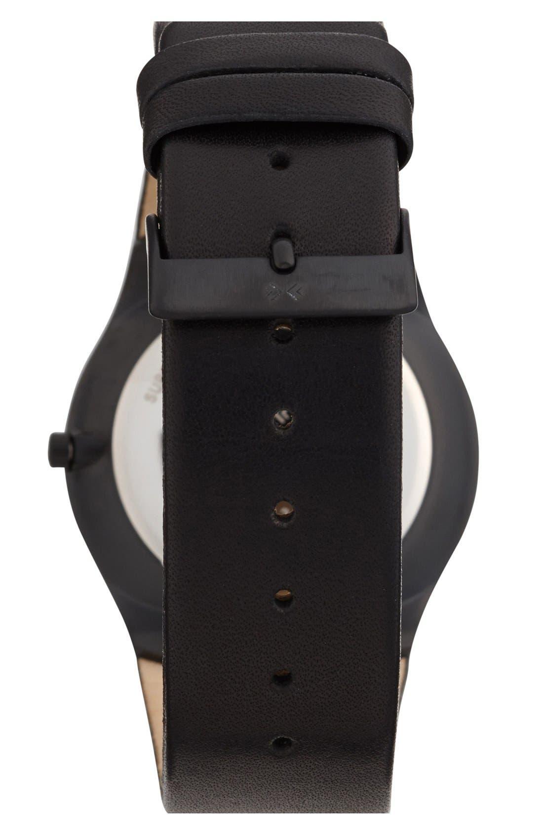 Alternate Image 2  - Skagen Slim Round Leather Strap Watch, 39mm