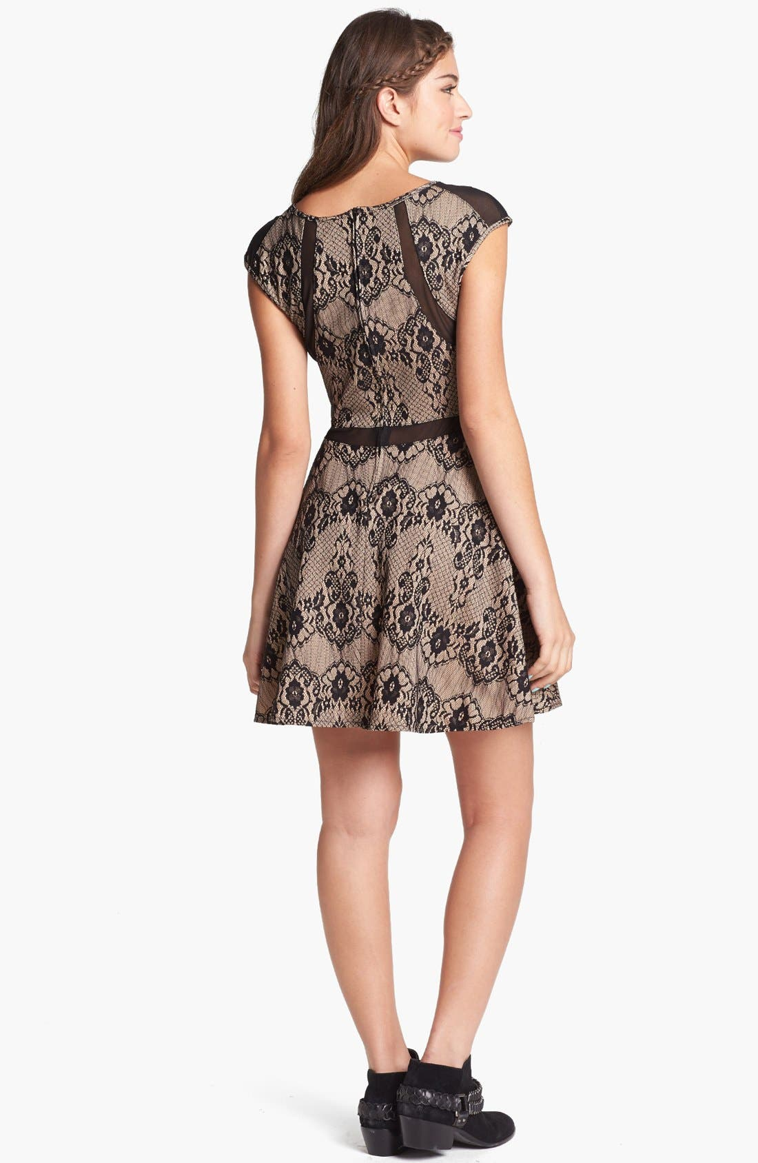 Alternate Image 2  - Trixxi Mesh Trim Skater Dress (Juniors)