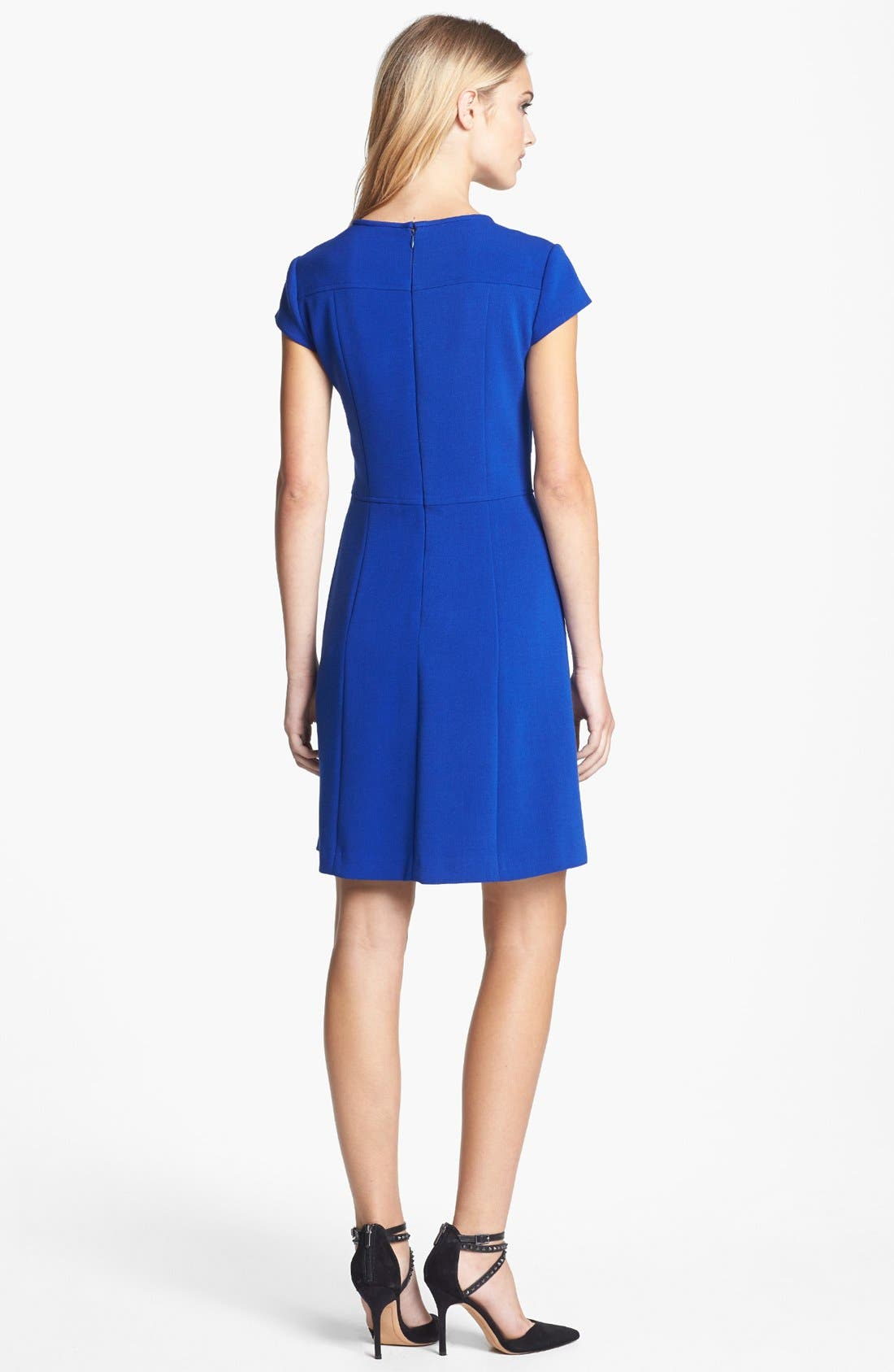 Alternate Image 2  - Eliza J Seamed Double Knit Crepe Fit & Flare Dress (Regular & Petite)