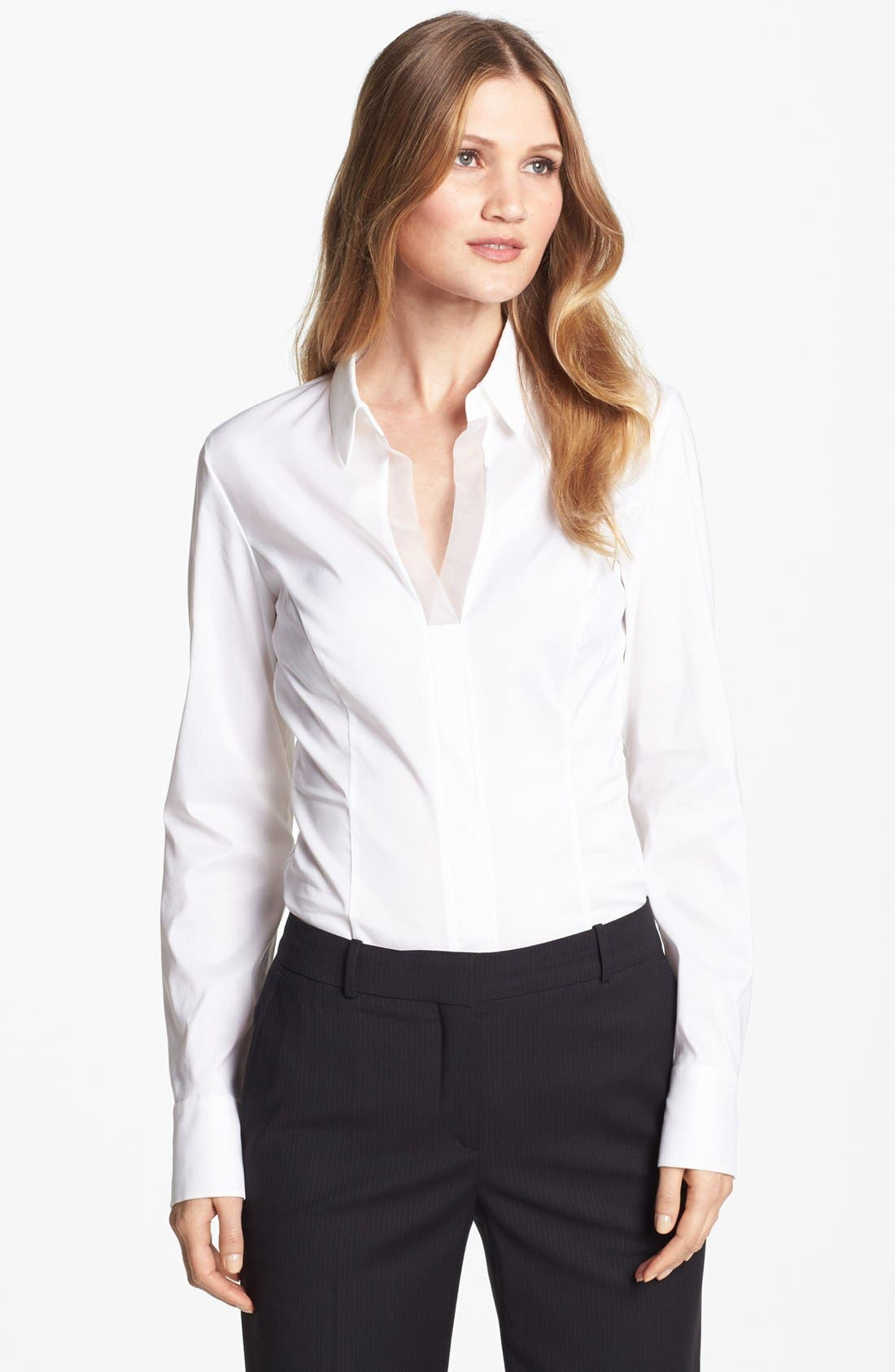 Alternate Image 1 Selected - BOSS HUGO BOSS 'Bashinovel' Organza Trim V-Neck Fitted Blouse