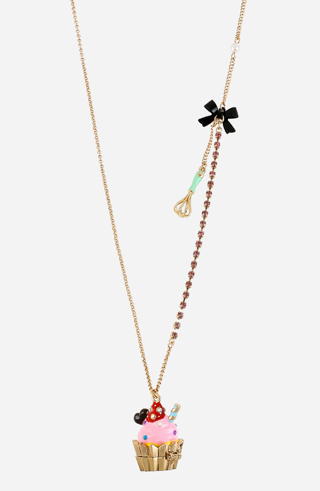 Alternate Image 1 Selected - Betsey Johnson 'Paris' Long Cupcake Pendant Necklace