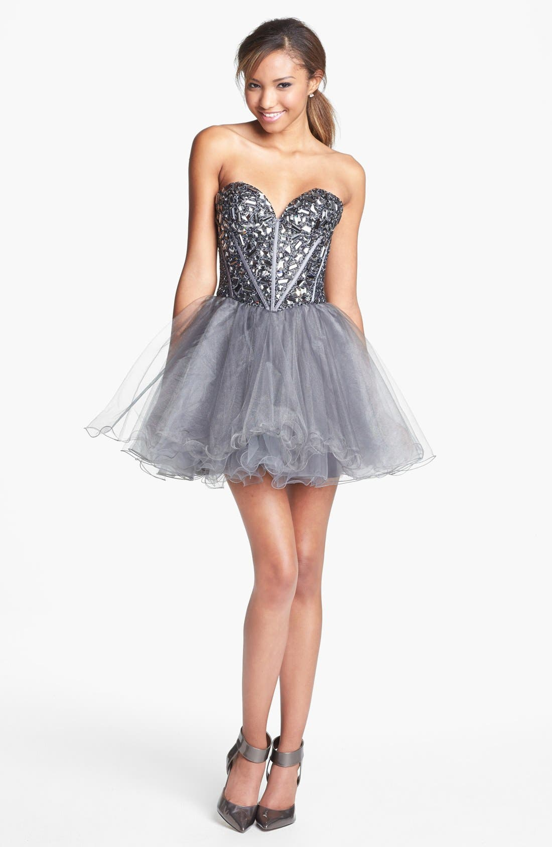 Alternate Image 1 Selected - Sherri Hill Embellished Tulle Fit & Flare Dress