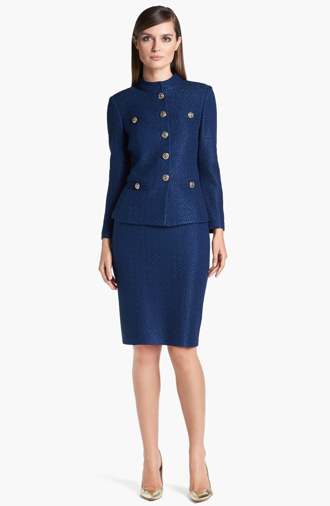 Alternate Image 2  - St. John Collection Stand Collar Tonal Dot Knit Jacket