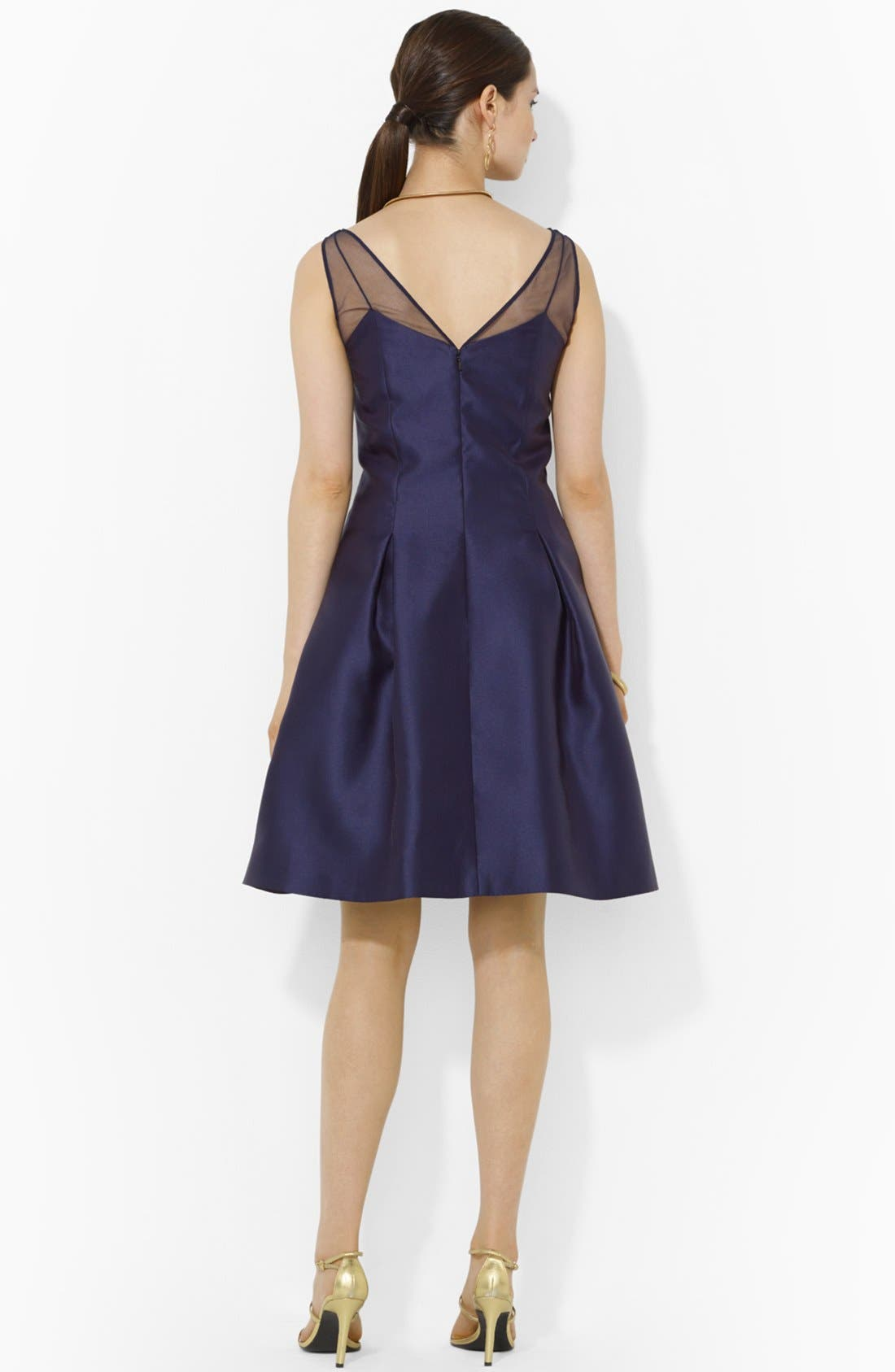 Alternate Image 2  - Lauren Ralph Lauren Satin Fit & Flare Dress
