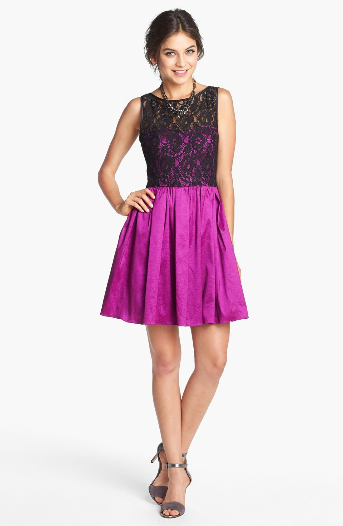 Alternate Image 1 Selected - Aidan by Aidan Mattox Lace Bodice Fit & Flare Dress