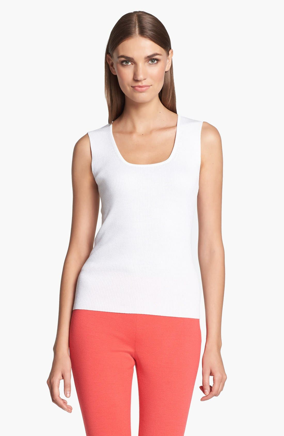 Main Image - St. John Collection Scoop Neck Rib Knit Shell