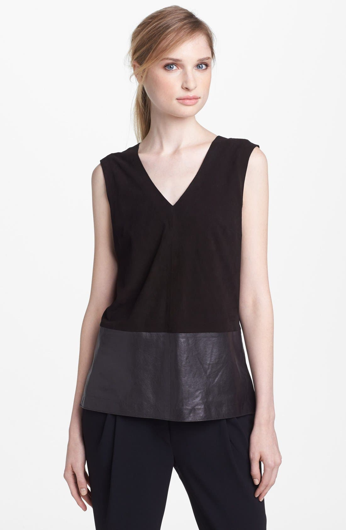 Main Image - Vince Suede & Leather Top