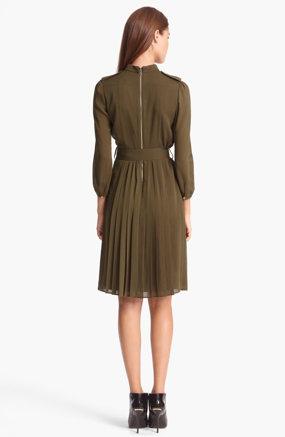 Alternate Image 2  - Burberry London Belted Stretch Silk Dress