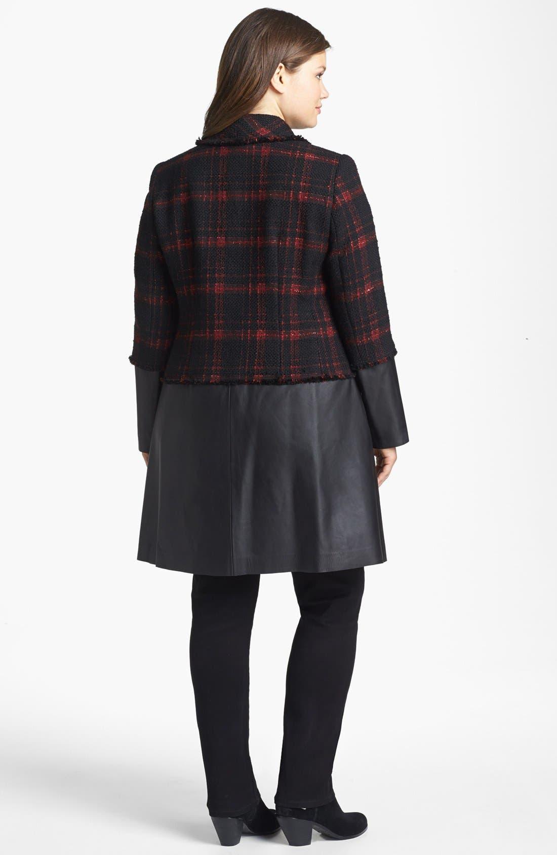 Alternate Image 2  - Lafayette 148 New York 'Cecille' Plaid Tweed & Leather Coat (Plus Size)