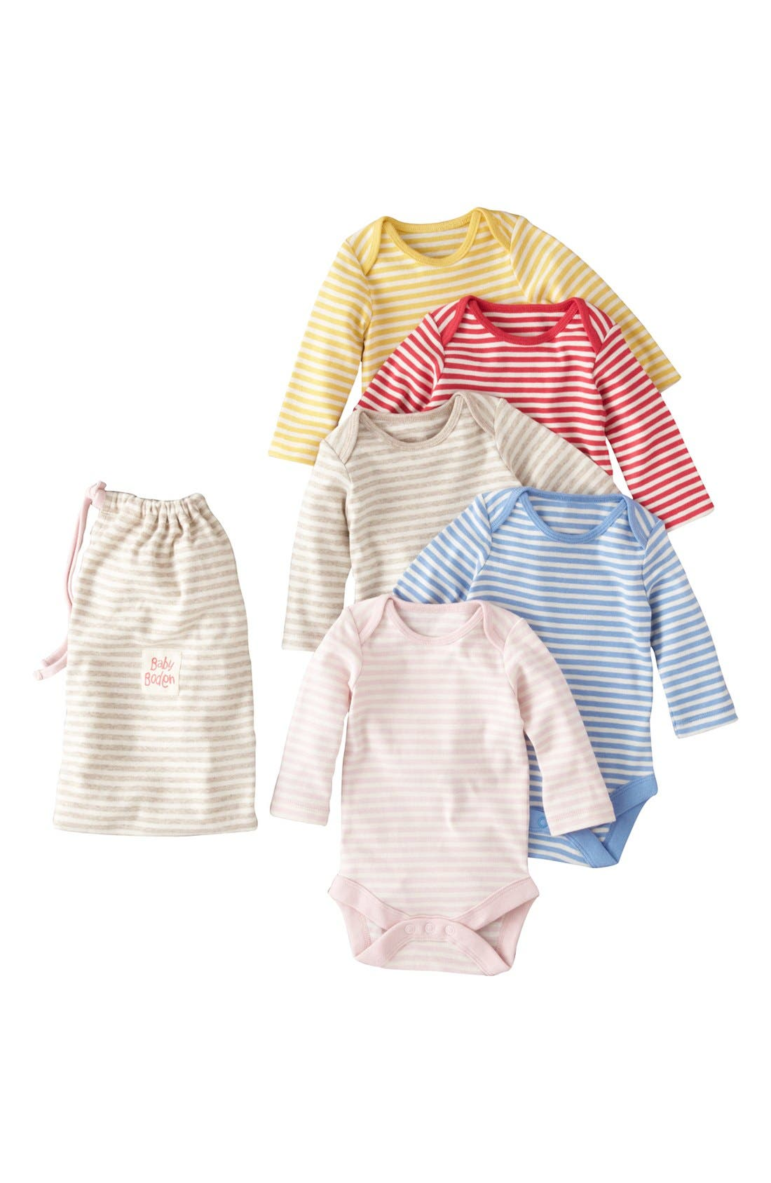 Main Image - Mini Boden Bodysuits (5-Pack) (Baby Girls)
