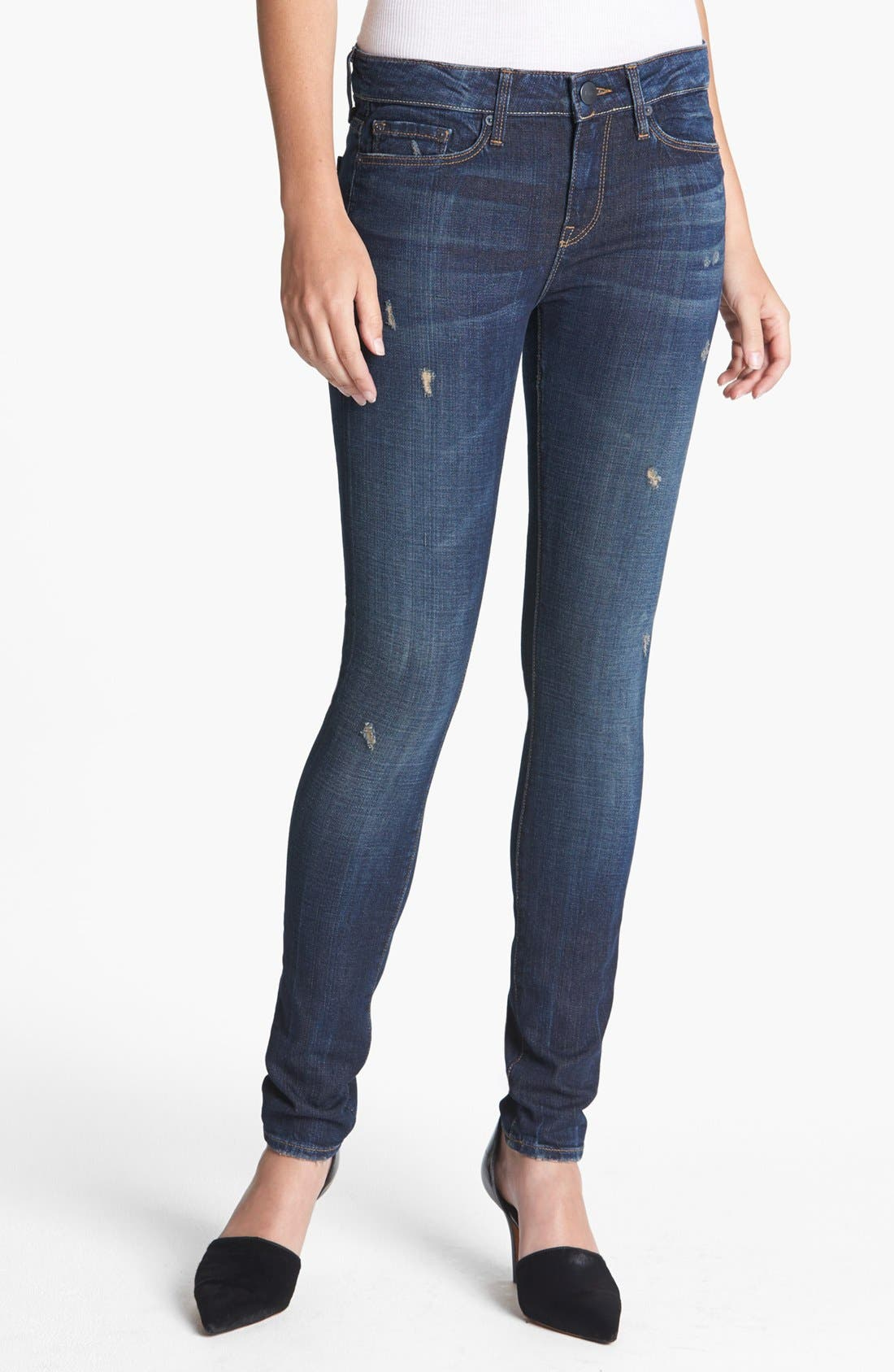 Main Image - Vince Destroyed Stretch Skinny Jeans (Destructed Dark Crimson)