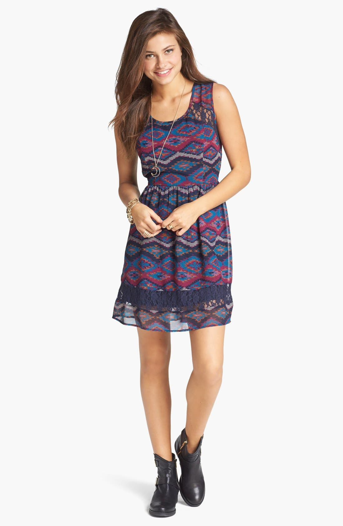 Alternate Image 1 Selected - Band of Gypsies Lace Inset Print Fit & Flare Dress (Juniors)