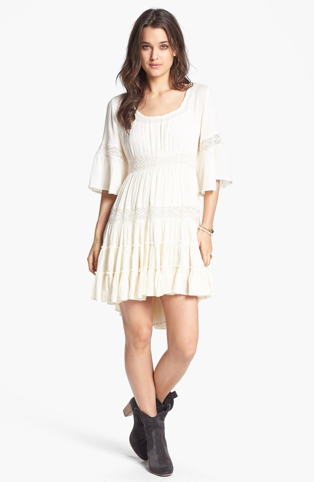 Main Image - Free People 'Dream Cloud' Lace Trim High/Low Dress