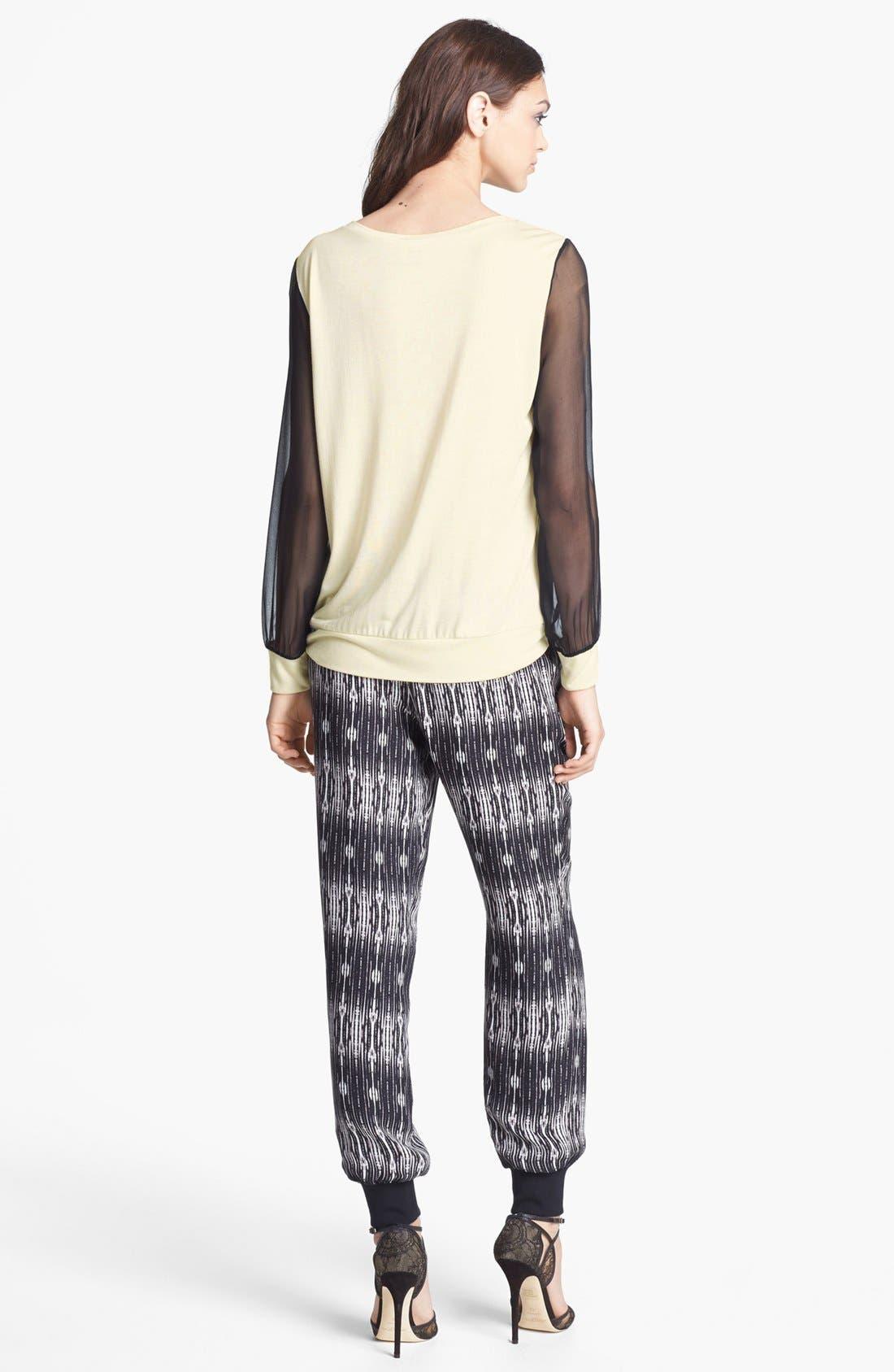 Alternate Image 3  - Haute Hippie Chiffon Sleeve Sweatshirt
