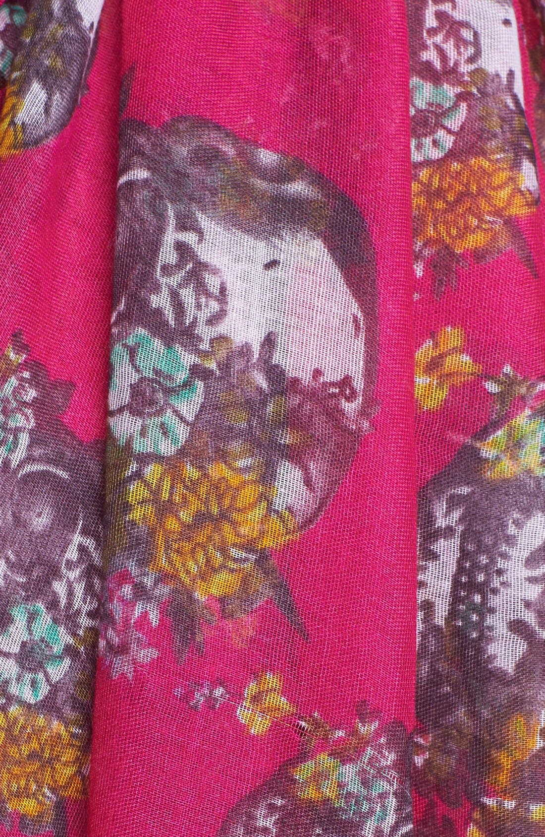 Alternate Image 3  - Roffe Accessories Floral Skull Scarf