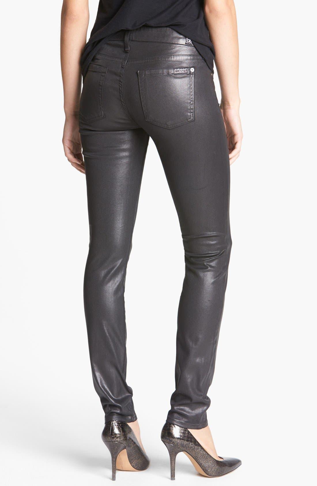 Alternate Image 2  - 7 For All Mankind® 'Higher Gloss Gummy' Skinny Jeans (Armor Grey)