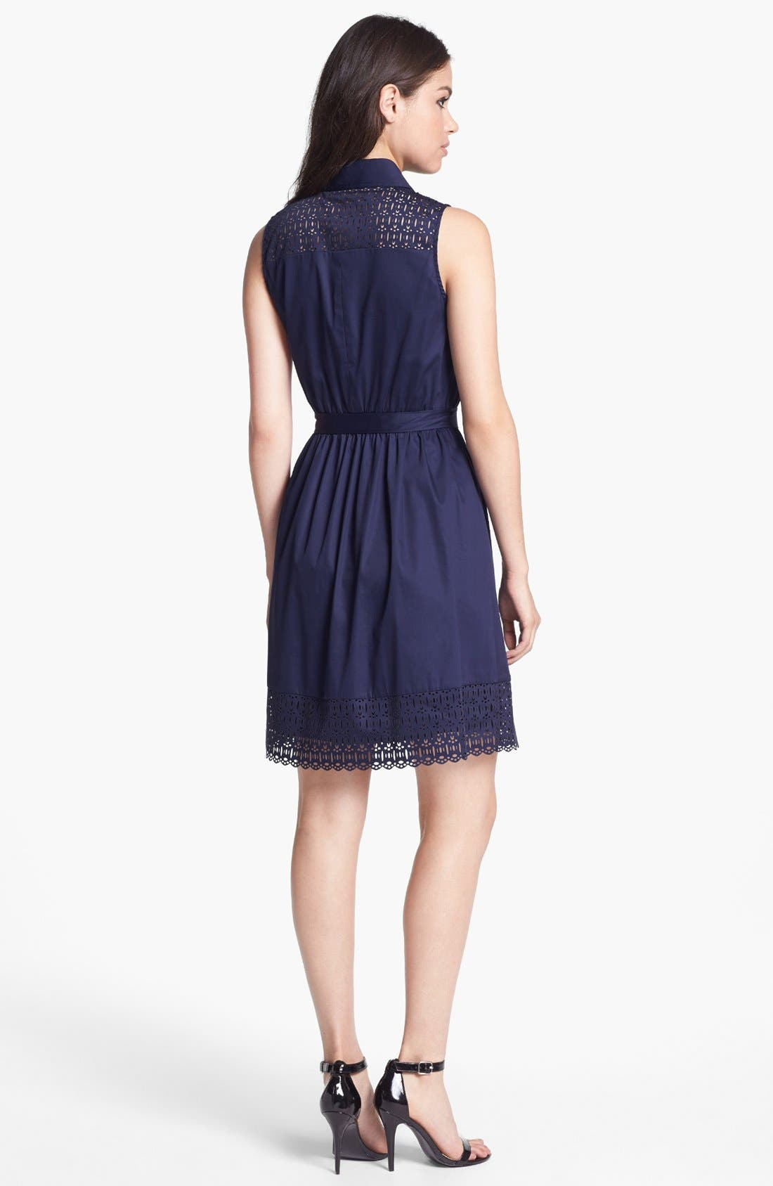 Alternate Image 2  - Laundry by Shelli Segal Sleeveless Laser Cut Shirtdress (Petite)