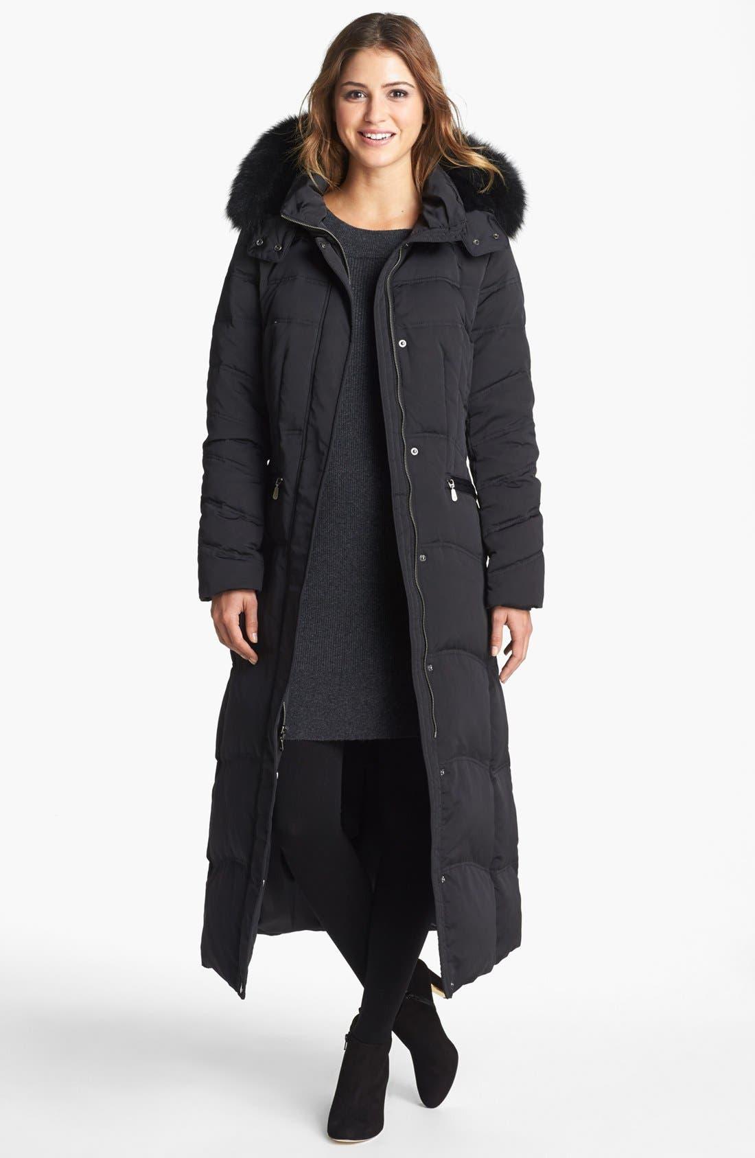 Main Image - 1 Madison Genuine Fox Fur Trim Long Down & Feather Coat